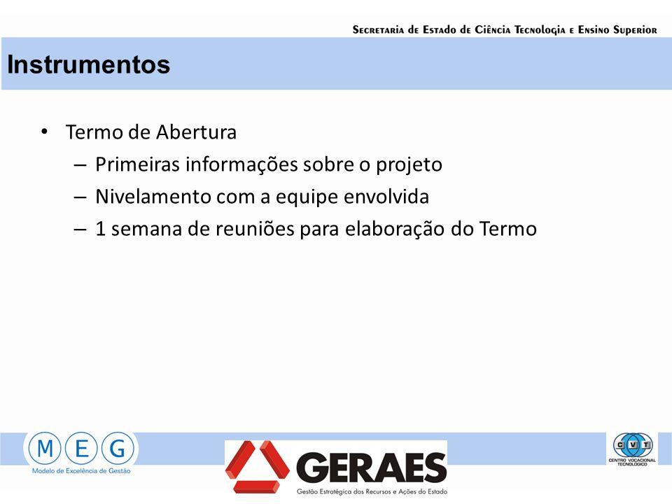 Instrumentos Termo de Abertura Primeiras informações sobre o projeto