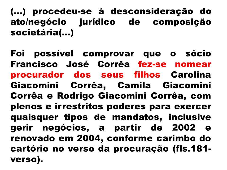 (...) procedeu-se à desconsideração do ato/negócio jurídico de composição societária(...)