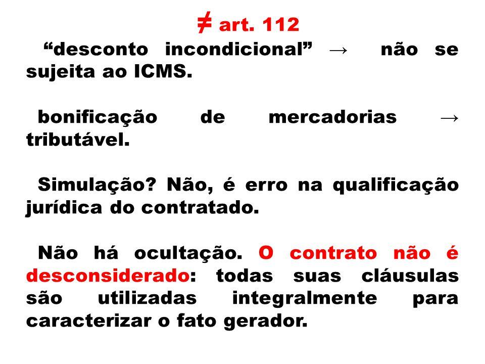 ≠ art. 112 desconto incondicional → não se sujeita ao ICMS.