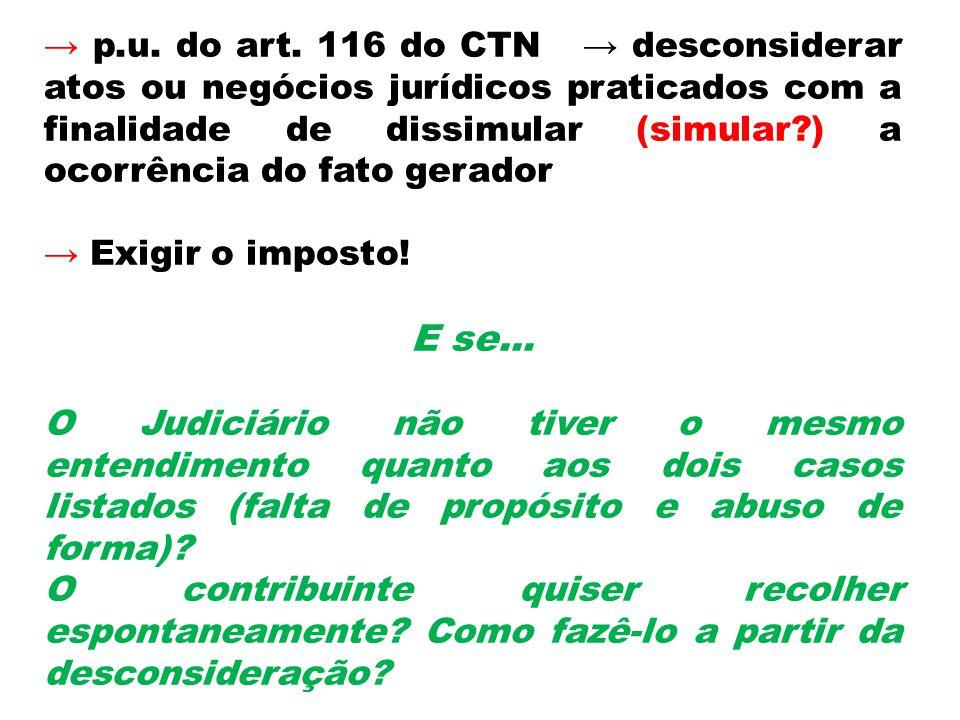 → p.u. do art. 116 do CTN → desconsiderar atos ou negócios jurídicos praticados com a finalidade de dissimular (simular ) a ocorrência do fato gerador