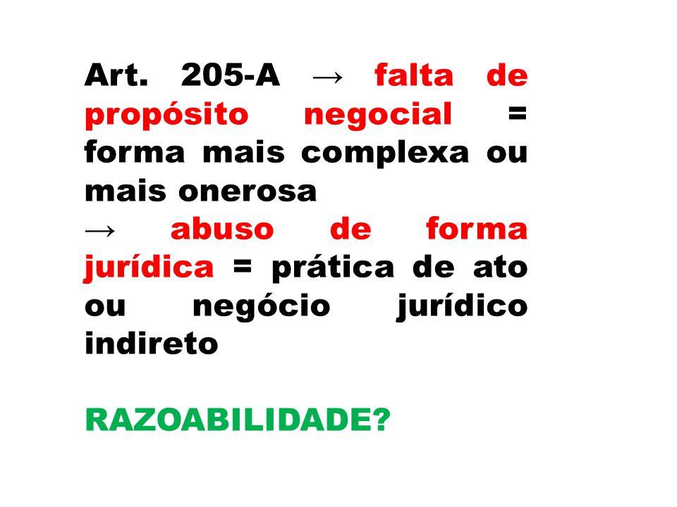 Art. 205-A → falta de propósito negocial = forma mais complexa ou mais onerosa