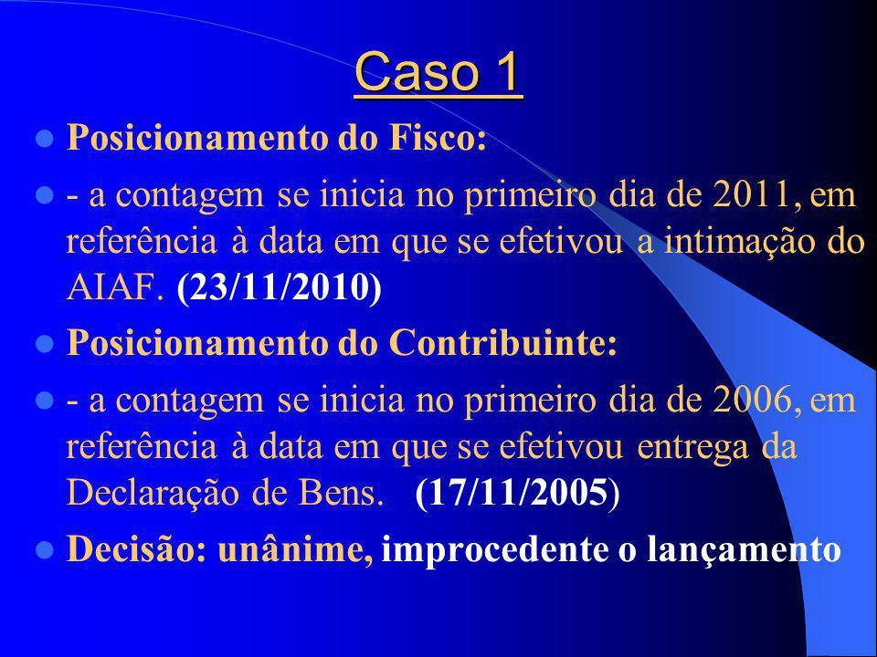 Caso 1 Posicionamento do Fisco: