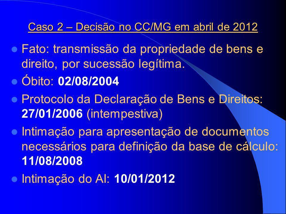 Caso 2 – Decisão no CC/MG em abril de 2012