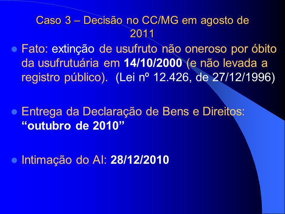Caso 3 – Decisão no CC/MG em agosto de 2011