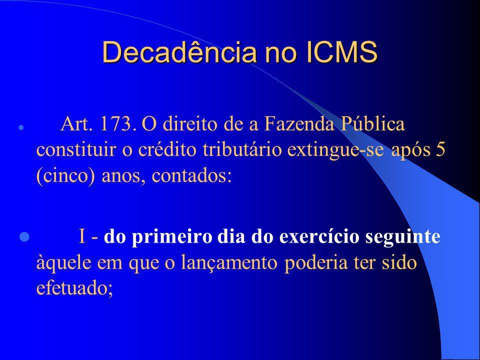Decadência no ICMS Art. 173. O direito de a Fazenda Pública constituir o crédito tributário extingue-se após 5 (cinco) anos, contados: