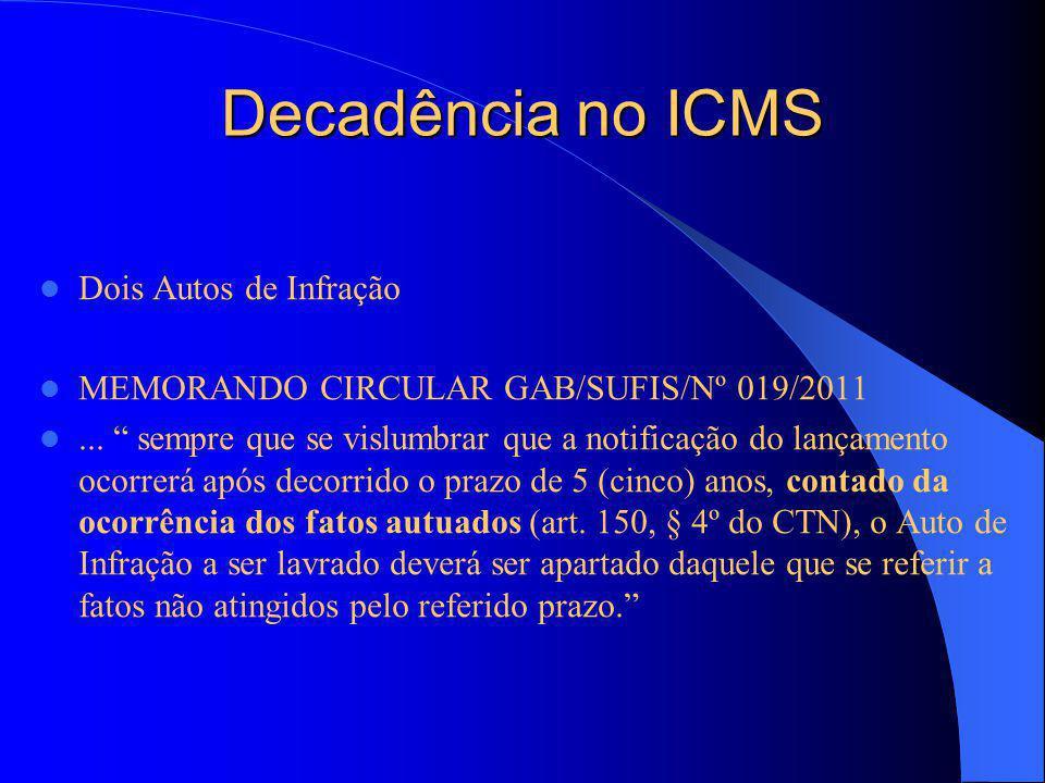 Decadência no ICMS Dois Autos de Infração