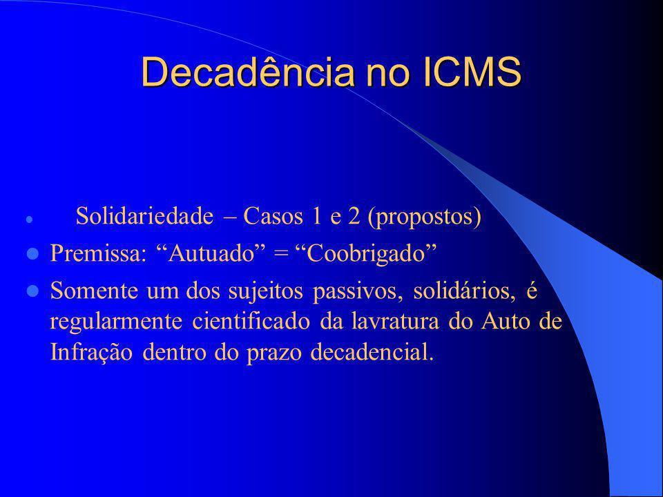 Decadência no ICMS Premissa: Autuado = Coobrigado