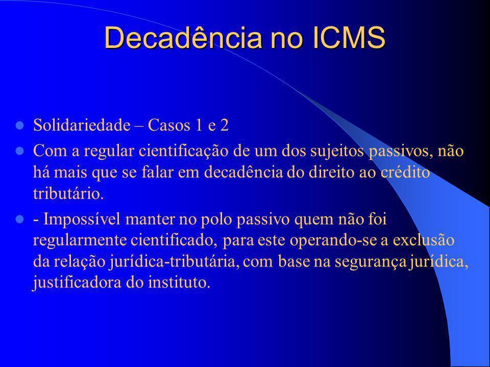 Decadência no ICMS Solidariedade – Casos 1 e 2