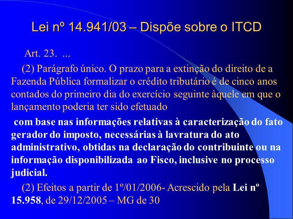 Lei nº 14.941/03 – Dispõe sobre o ITCD