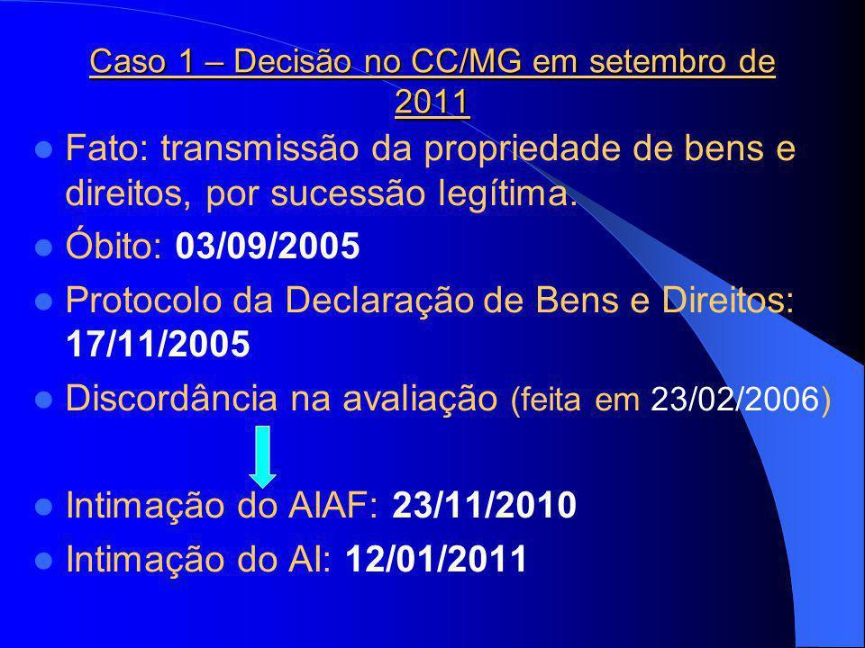 Caso 1 – Decisão no CC/MG em setembro de 2011