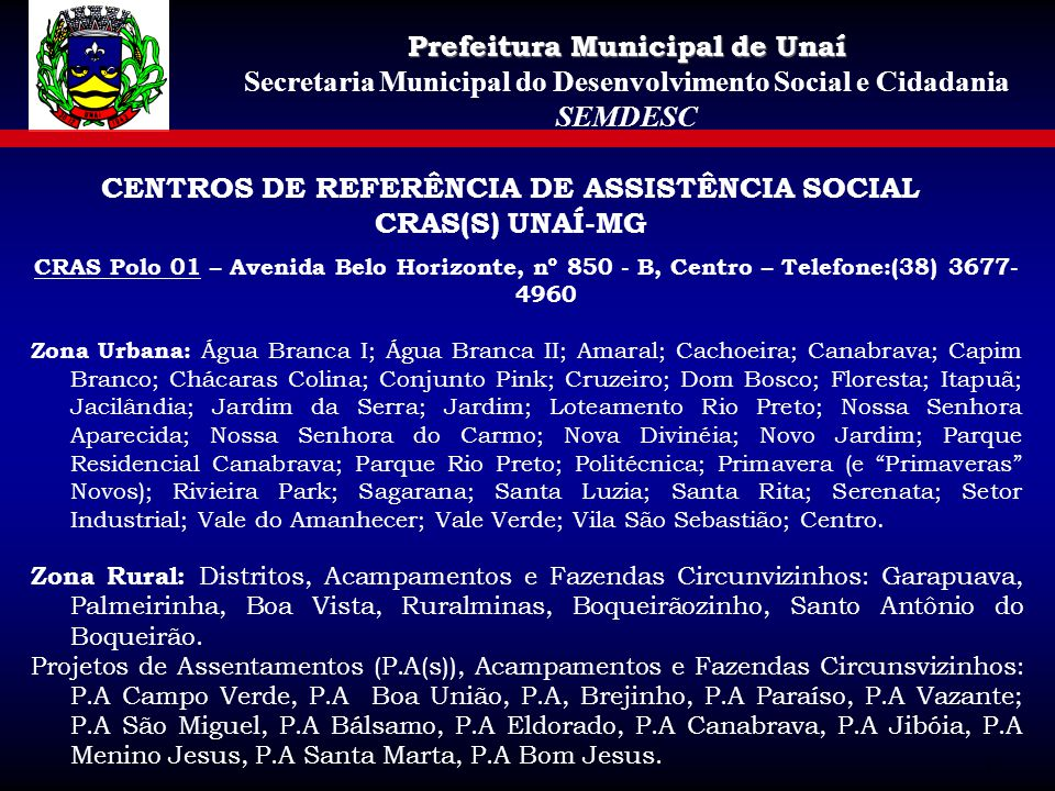 CENTROS DE REFERÊNCIA DE ASSISTÊNCIA SOCIAL CRAS(S) UNAÍ-MG
