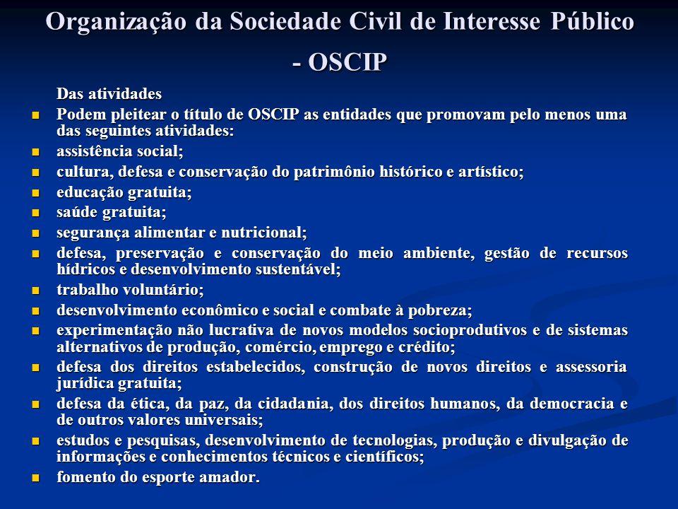 Organização da Sociedade Civil de Interesse Público - OSCIP