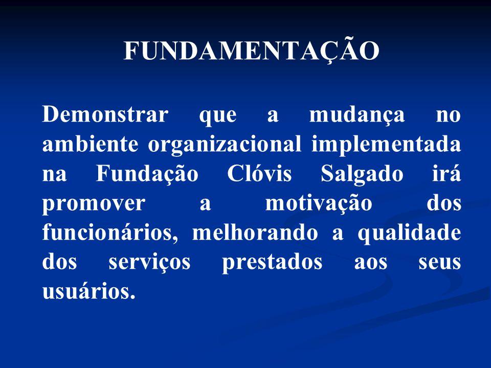 FUNDAMENTAÇÃO Demonstrar que a mudança no ambiente organizacional implementada na Fundação Clóvis Salgado irá promover a motivação dos funcionários, melhorando a qualidade dos serviços prestados aos seus usuários.