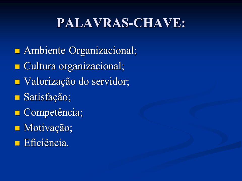 PALAVRAS-CHAVE: Ambiente Organizacional; Cultura organizacional;