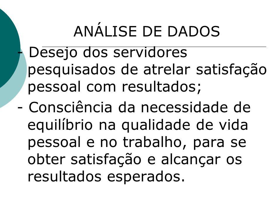 ANÁLISE DE DADOS - Desejo dos servidores pesquisados de atrelar satisfação pessoal com resultados;