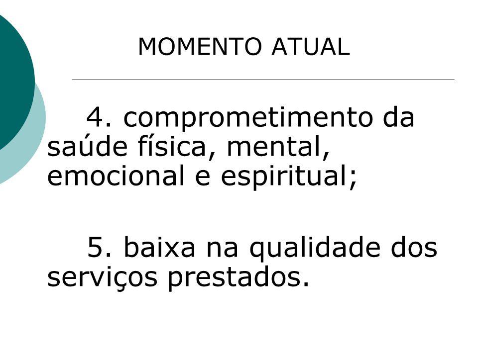 MOMENTO ATUAL 4. comprometimento da saúde física, mental, emocional e espiritual; 5.