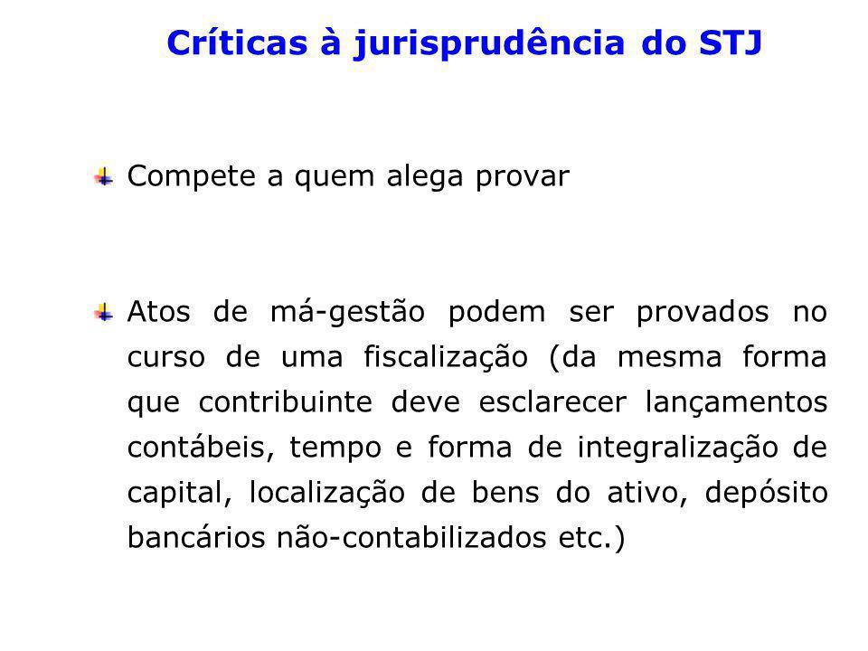 Críticas à jurisprudência do STJ