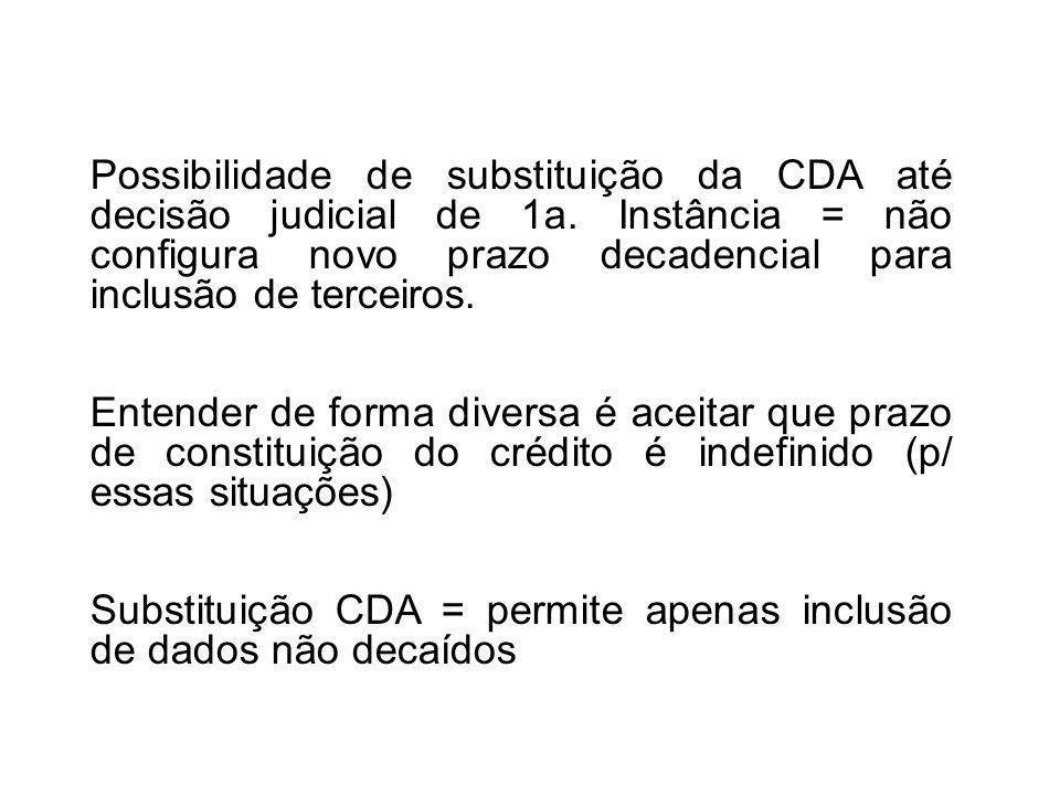 Possibilidade de substituição da CDA até decisão judicial de 1a