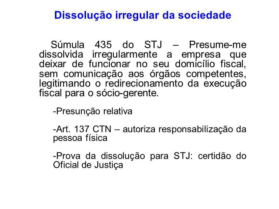 Dissolução irregular da sociedade
