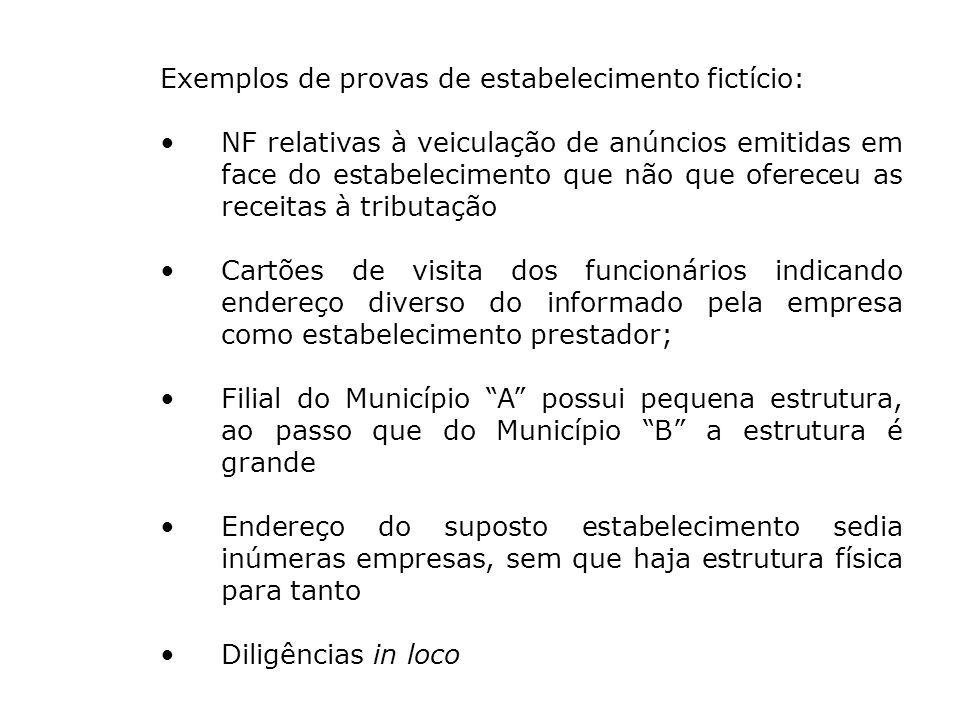 Exemplos de provas de estabelecimento fictício: