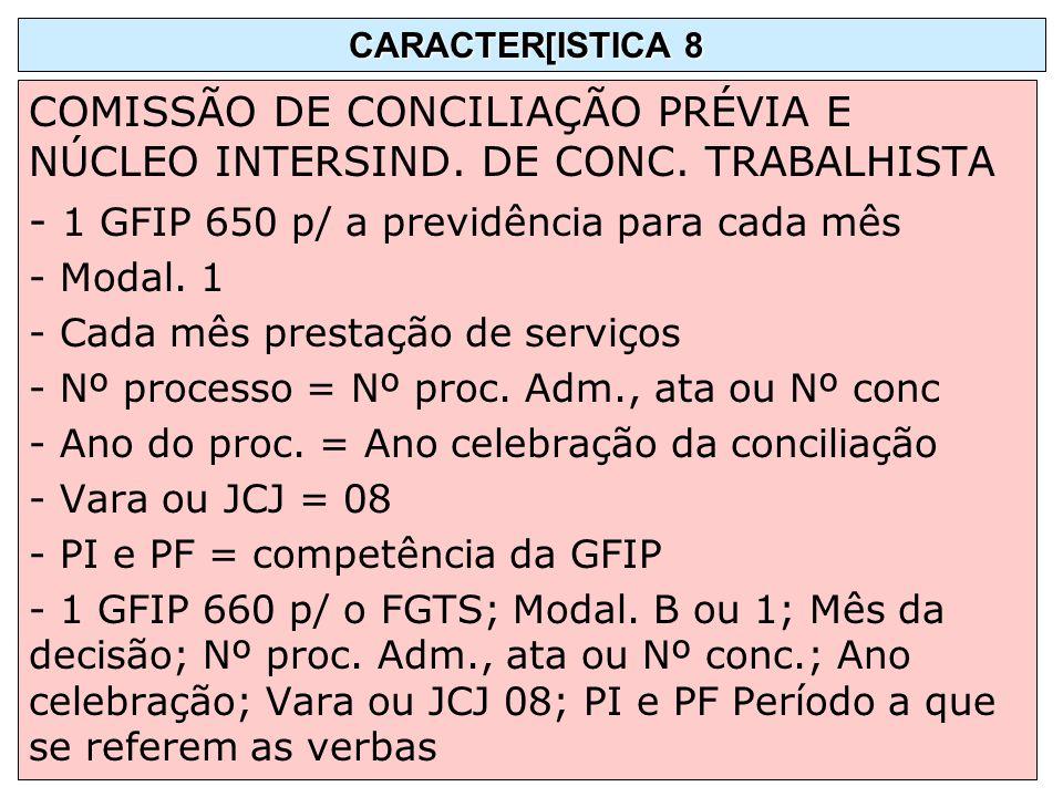 - 1 GFIP 650 p/ a previdência para cada mês