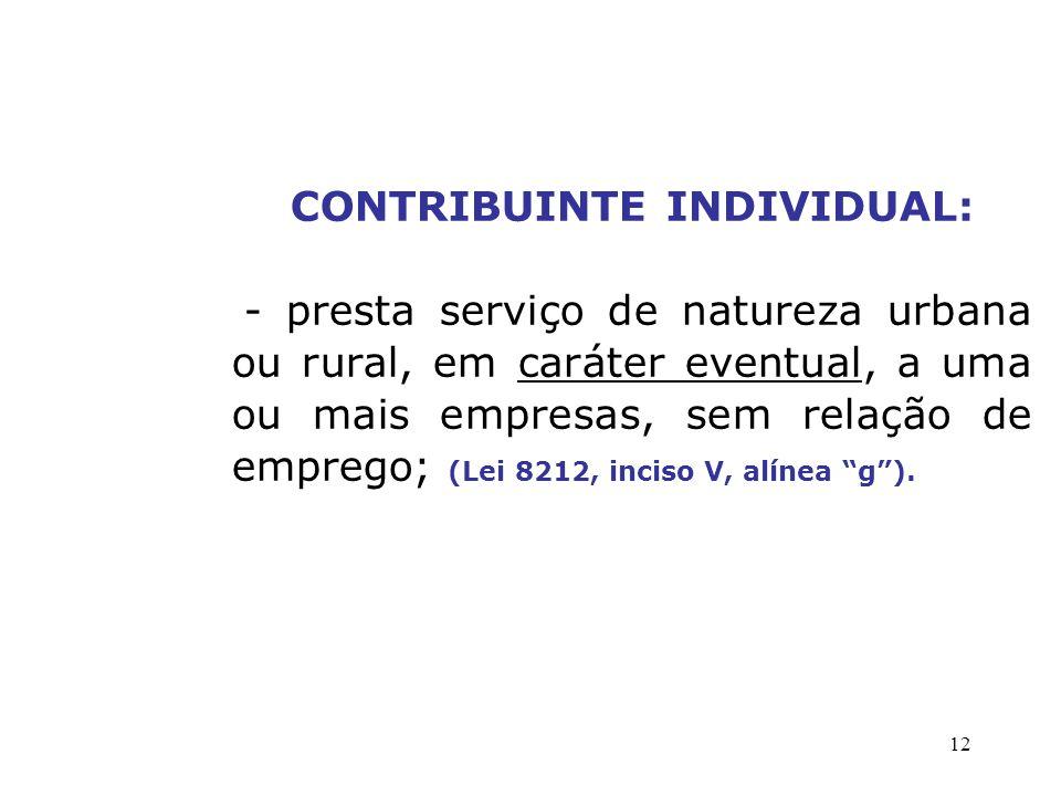 CONTRIBUINTE INDIVIDUAL: