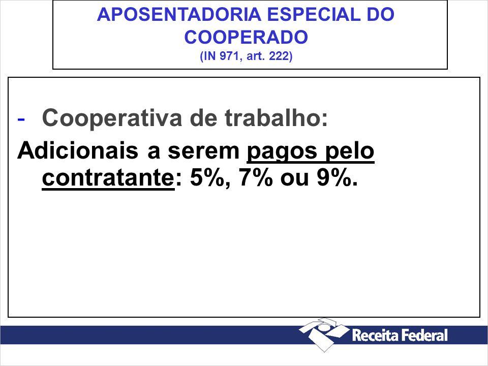 APOSENTADORIA ESPECIAL DO COOPERADO