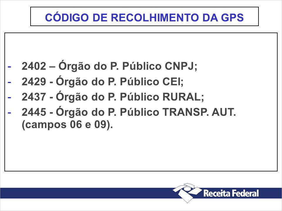 CÓDIGO DE RECOLHIMENTO DA GPS
