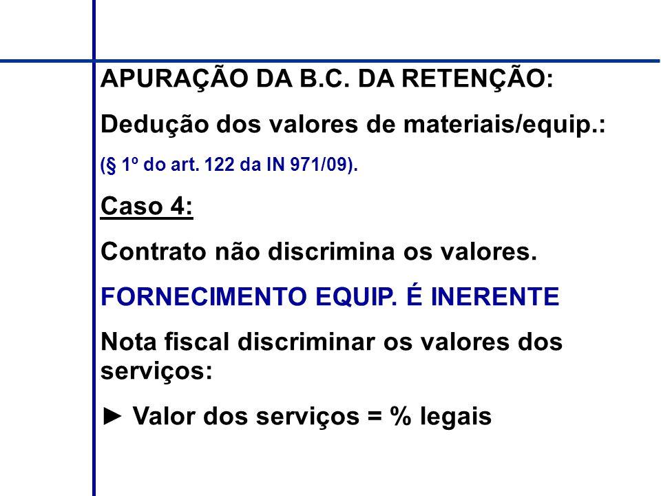 APURAÇÃO DA B.C. DA RETENÇÃO: Dedução dos valores de materiais/equip.: