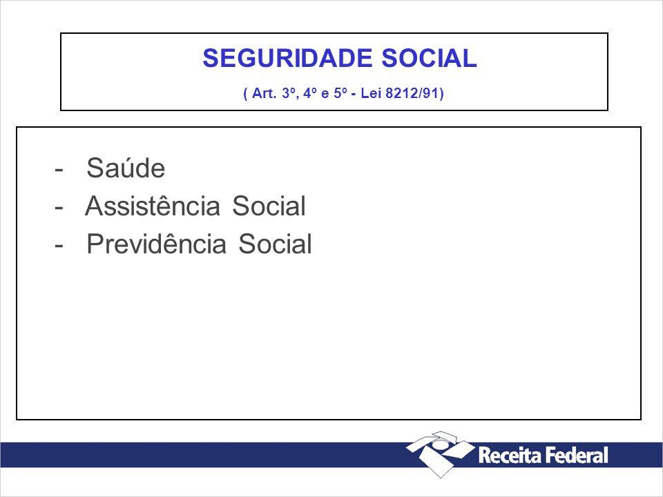 - Saúde - Assistência Social - Previdência Social SEGURIDADE SOCIAL