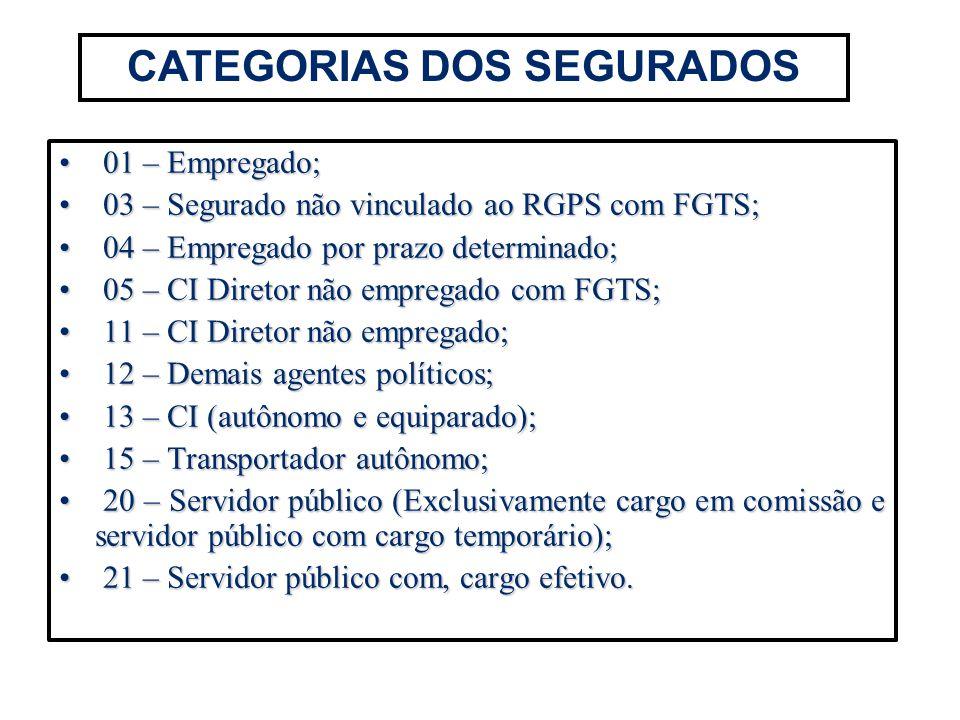 CATEGORIAS DOS SEGURADOS