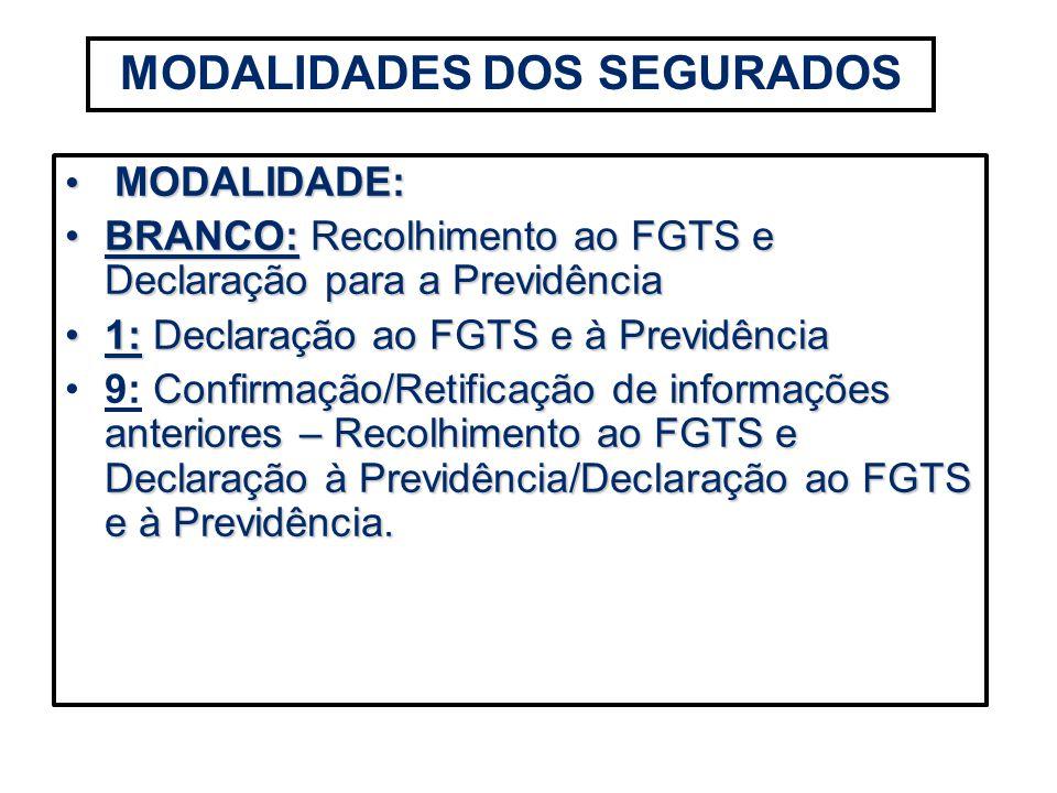 MODALIDADES DOS SEGURADOS