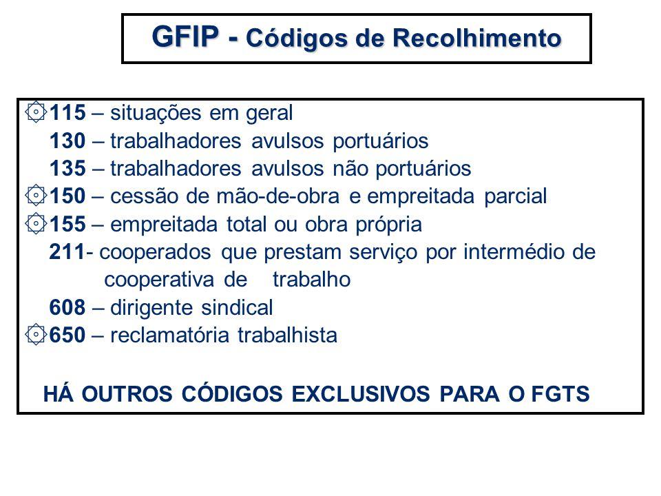 GFIP - Códigos de Recolhimento