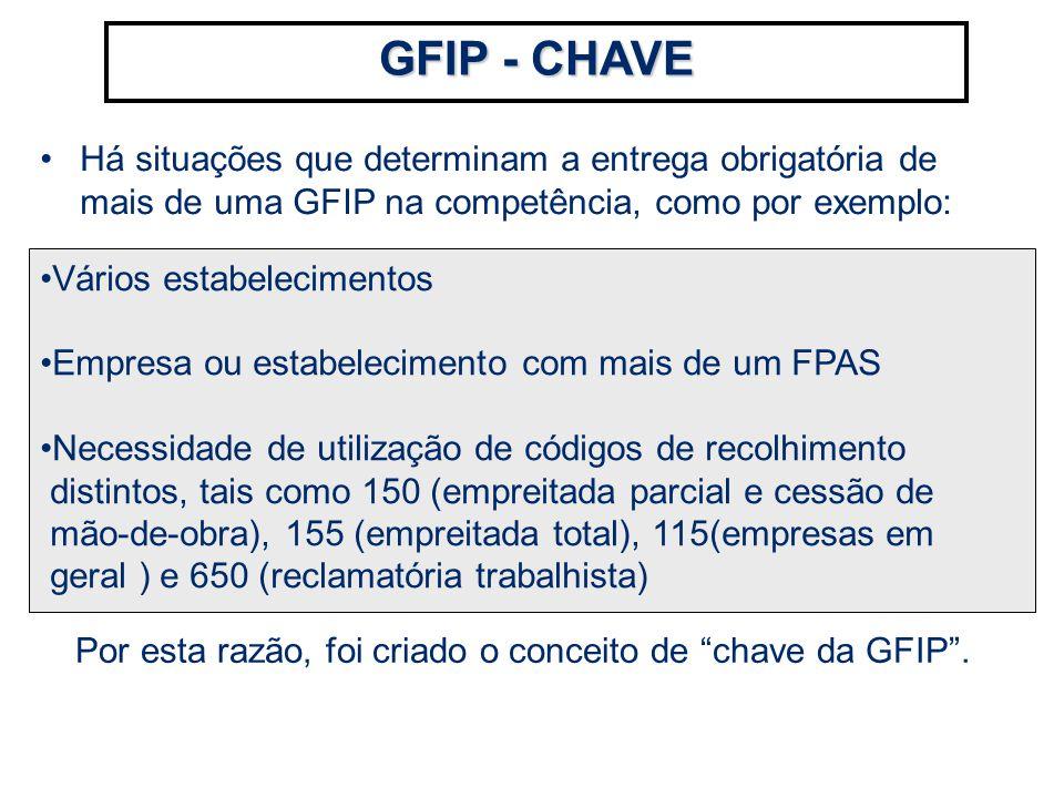 Por esta razão, foi criado o conceito de chave da GFIP .