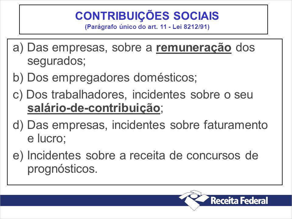CONTRIBUIÇÕES SOCIAIS (Parágrafo único do art. 11 - Lei 8212/91)