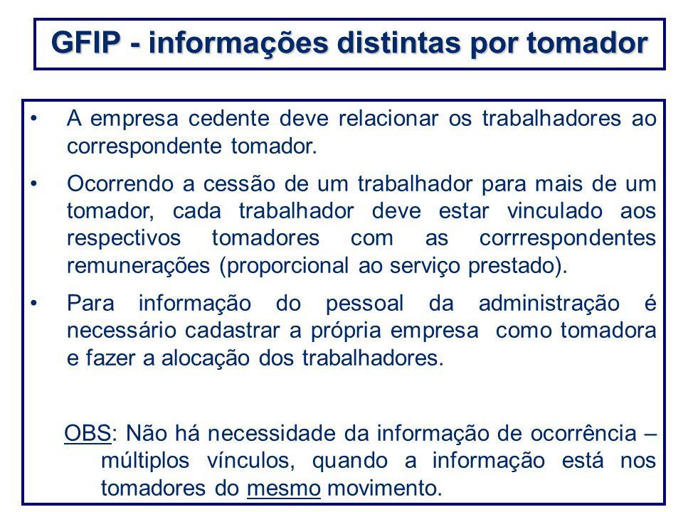 GFIP - informações distintas por tomador