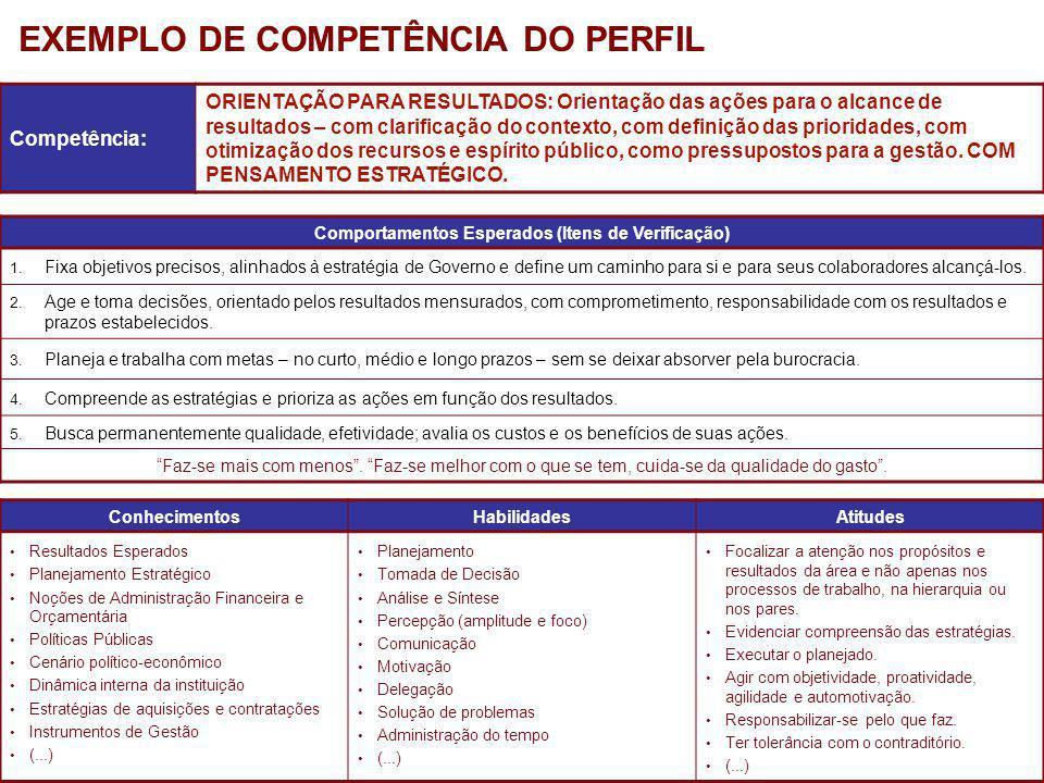 EXEMPLO DE COMPETÊNCIA DO PERFIL
