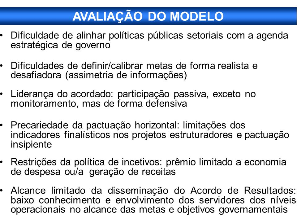 AVALIAÇÃO DO MODELO Dificuldade de alinhar políticas públicas setoriais com a agenda estratégica de governo.