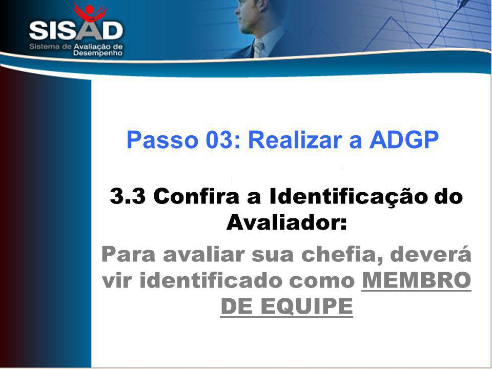 Passo 03: Realizar a ADGP 3.3 Confira a Identificação do Avaliador: