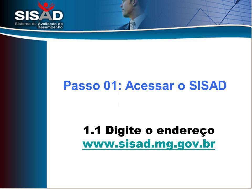 1.1 Digite o endereço www.sisad.mg.gov.br