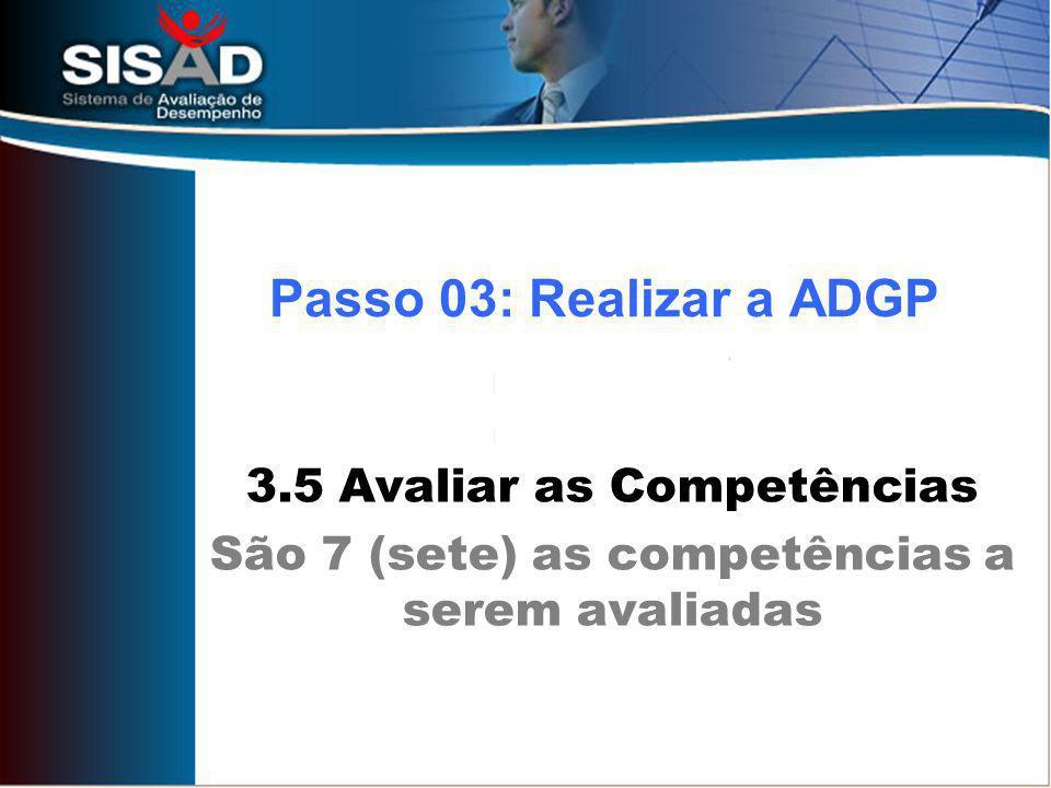Passo 03: Realizar a ADGP 3.5 Avaliar as Competências