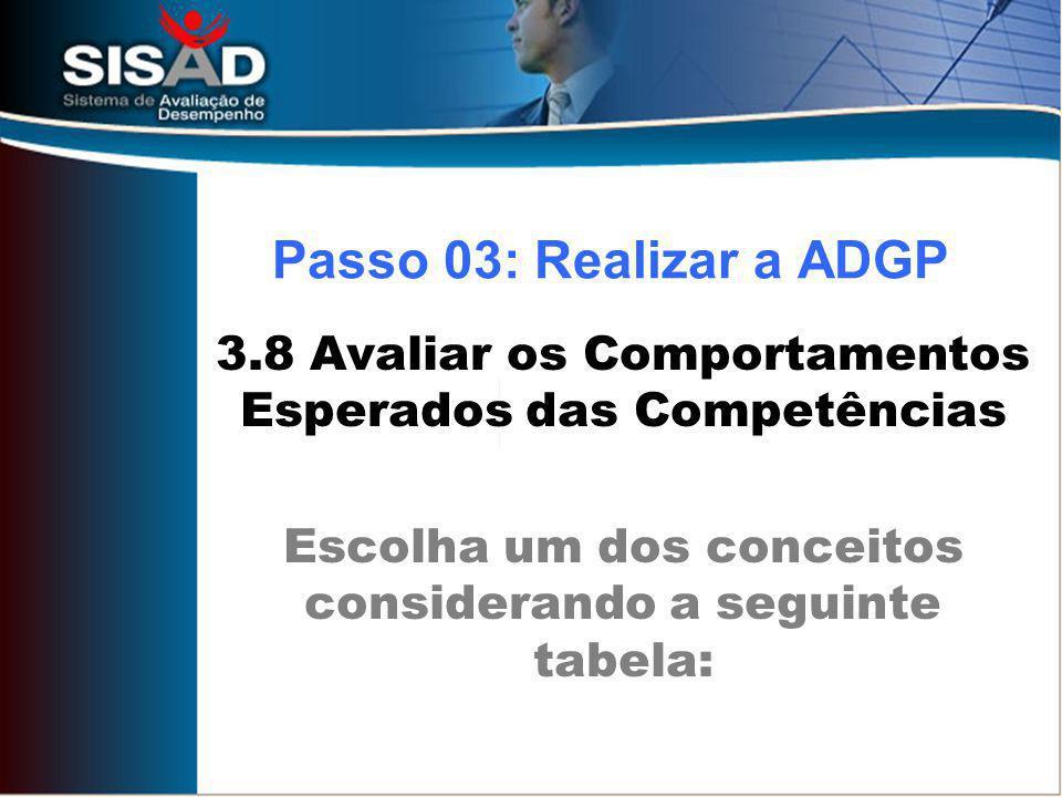 Passo 03: Realizar a ADGP 3.8 Avaliar os Comportamentos Esperados das Competências.