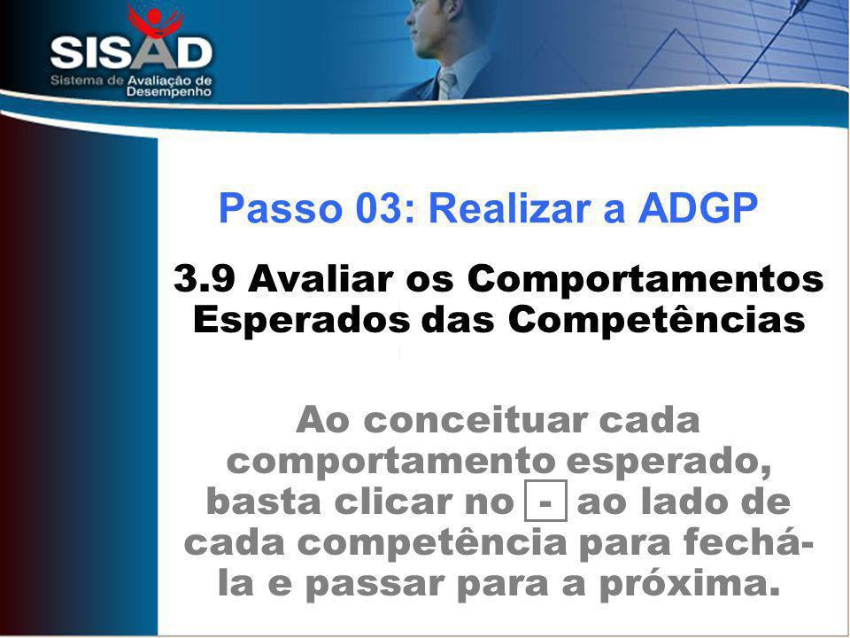 3.9 Avaliar os Comportamentos Esperados das Competências