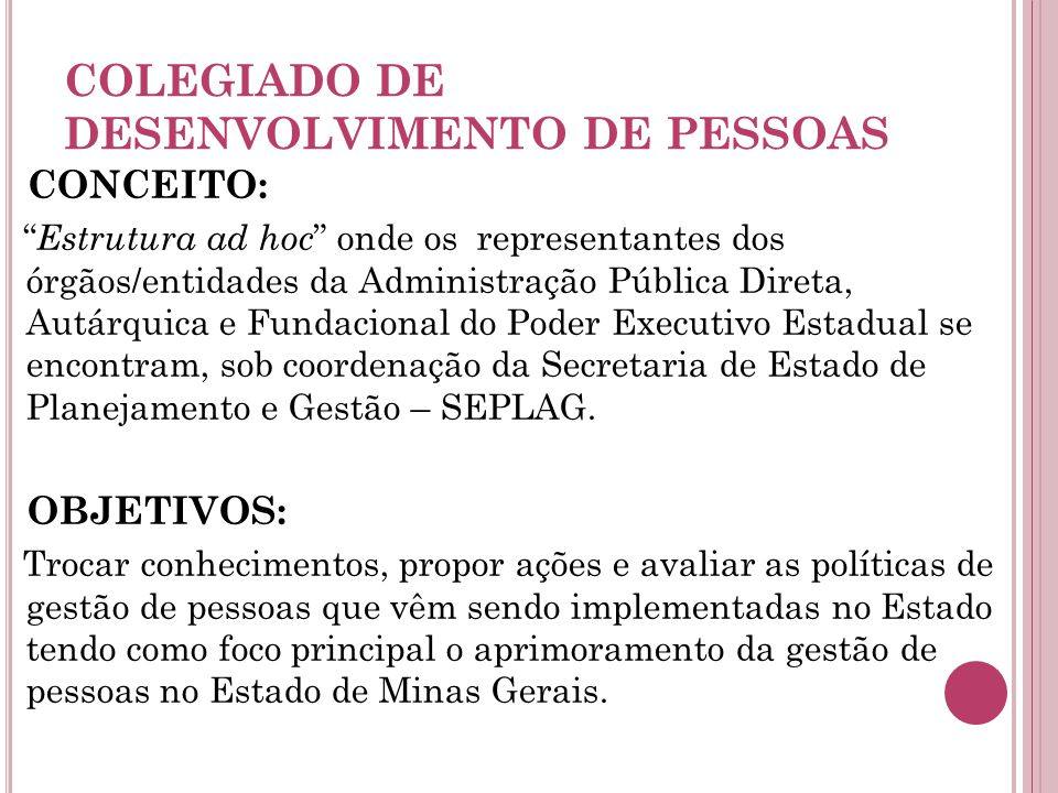 COLEGIADO DE DESENVOLVIMENTO DE PESSOAS