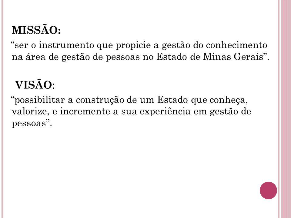 MISSÃO: ser o instrumento que propicie a gestão do conhecimento na área de gestão de pessoas no Estado de Minas Gerais .