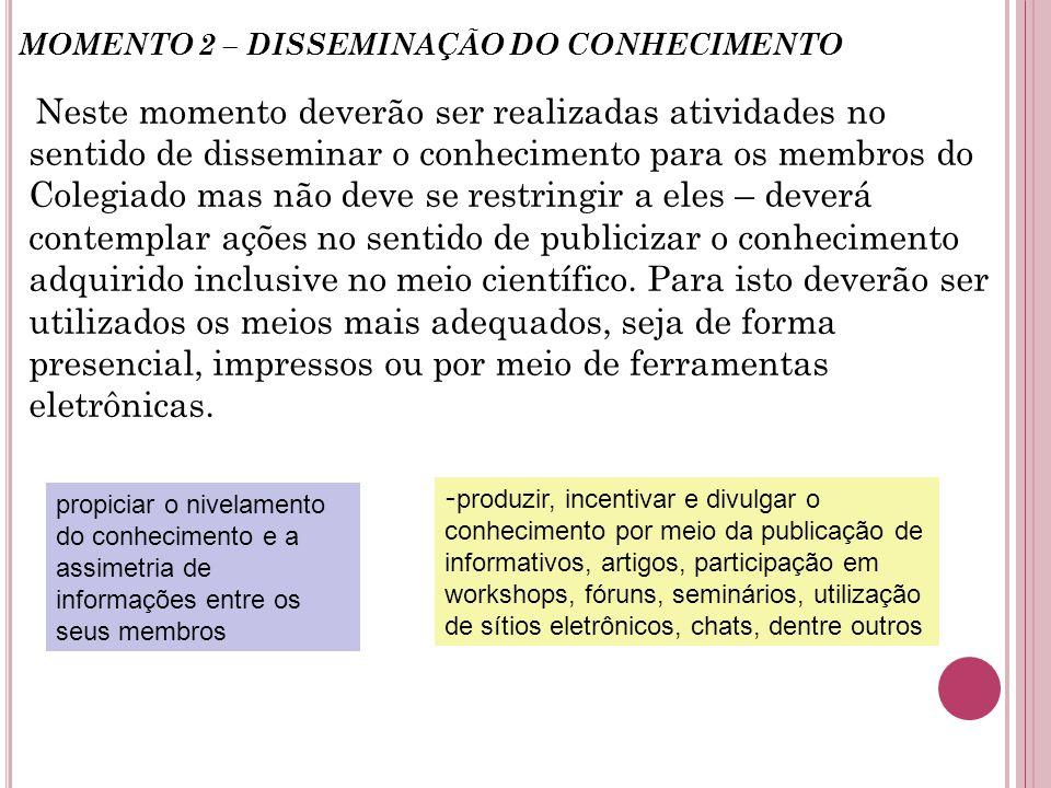 MOMENTO 2 – DISSEMINAÇÃO DO CONHECIMENTO