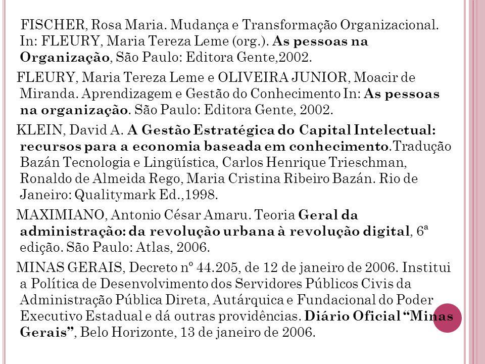 FISCHER, Rosa Maria. Mudança e Transformação Organizacional