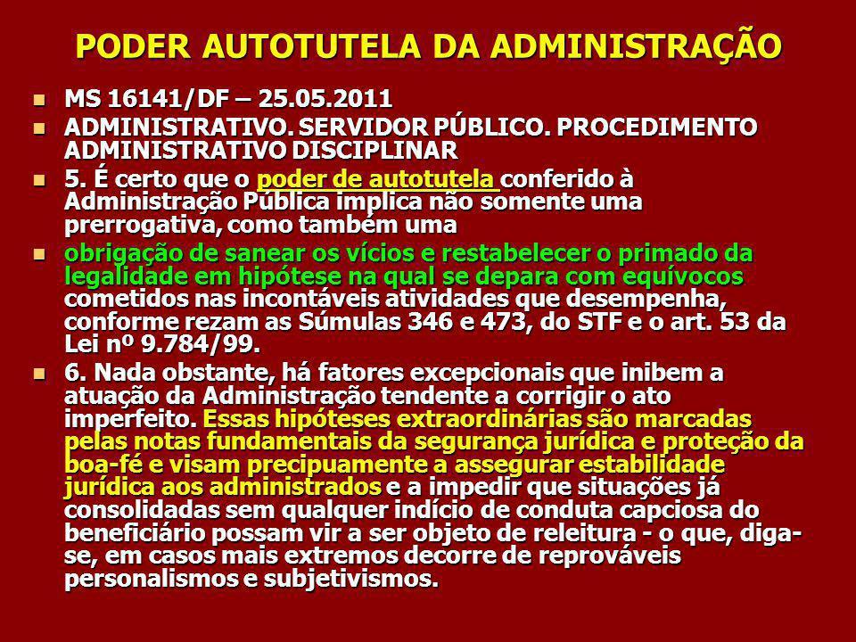 PODER AUTOTUTELA DA ADMINISTRAÇÃO