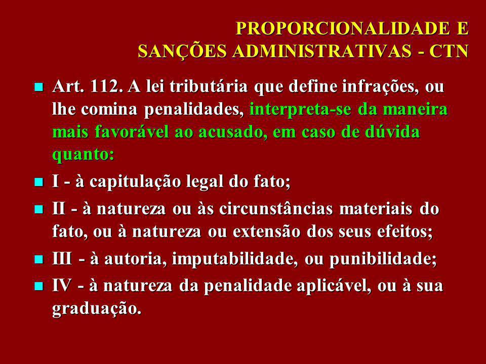 PROPORCIONALIDADE E SANÇÕES ADMINISTRATIVAS - CTN