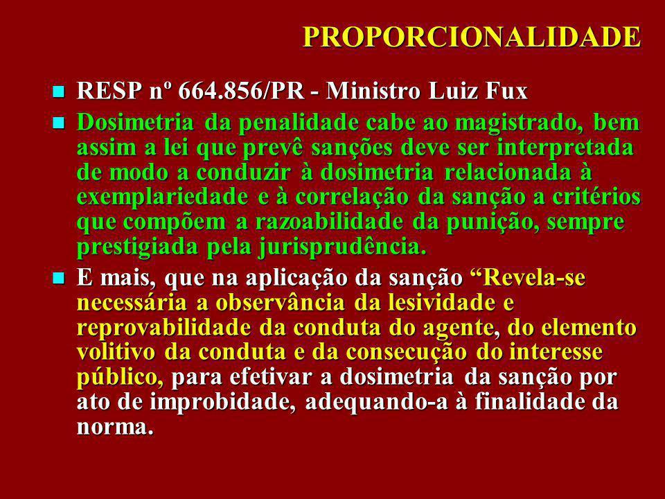 PROPORCIONALIDADE RESP nº 664.856/PR - Ministro Luiz Fux